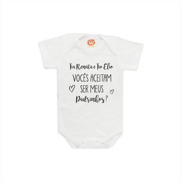 51f989a01d Body de Bebê Convite Padrinho - Madrinha - Dindo - Dinda