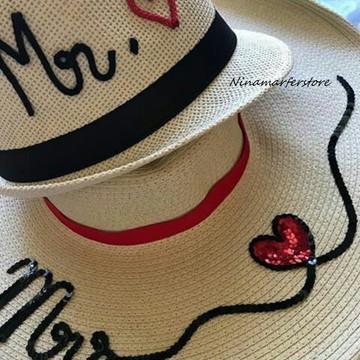 kit chapéu de palha clara casal customizado