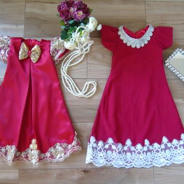 Vestido Vermelho Trapézio Moda Irmãs