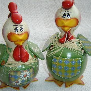 Casal de galinhas de cabaça 7