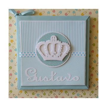 Livro do Bebê príncipe para menino azul e branco scrapbook