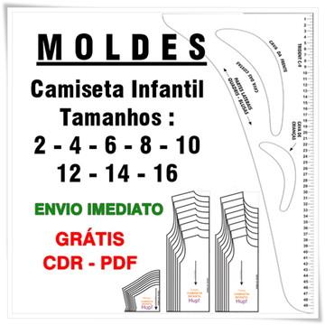 Moldes para camiseta infantil 2 ao 16 - envio PDF