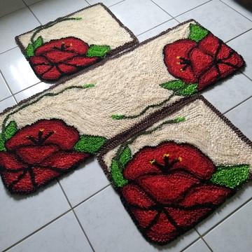 Tapetes para decoração da cozinha orquidea vermelha frufru