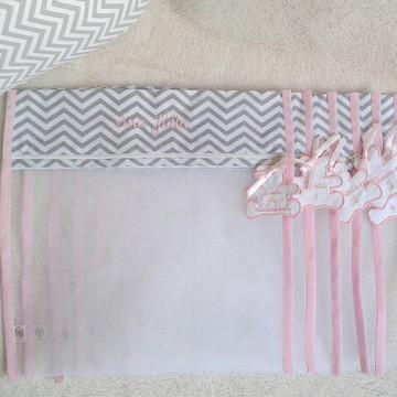Saquinho de Maternidade Cinza com rosa