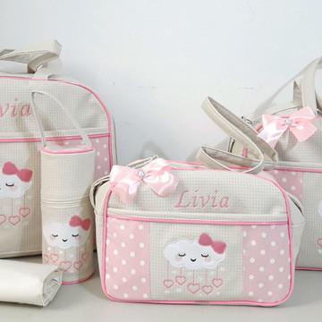 kit bolsas maternidade e porta mamadeira