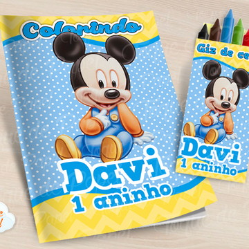 Kit colorir com giz de cera Mickey Baby