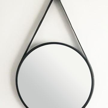 Espelho Adnet Preto 50 cm com Alça Preta