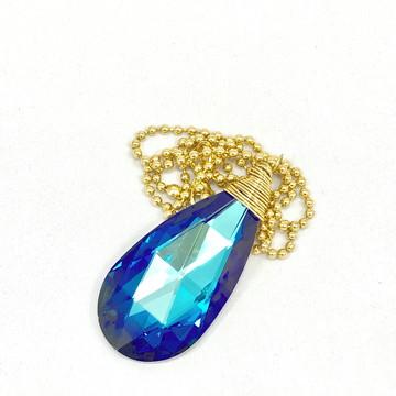 Colar Cristal Glass Azul