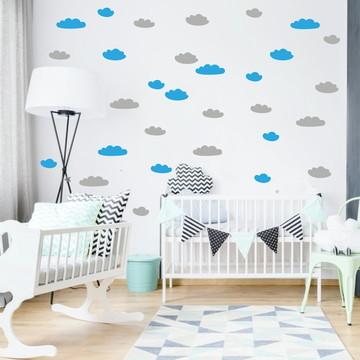 Adesivo nuvens azul e cinza
