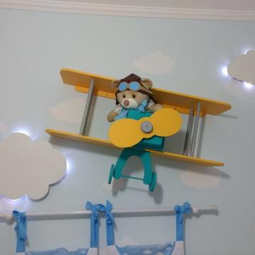 Avião Prateleira Mdf Decoração Bebe Tema Urso Aviador