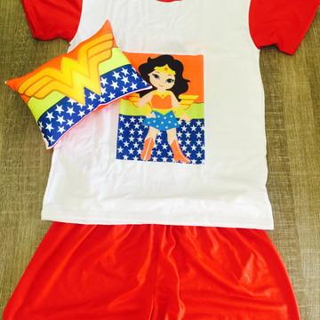 Kit Festa do Pijama mulher maravilha