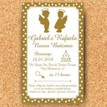 Convite Batizado Casal Gêmeos - digital
