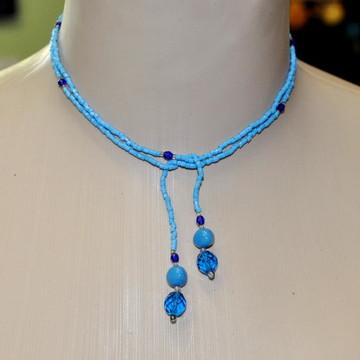 Colar de amarrar Desejo azul