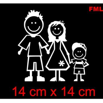 Adesivo decorativo casal e filho familia feliz