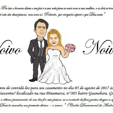 Convite com Caricatura GRÁTIS dos Noivos