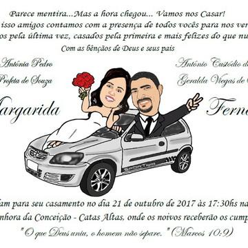 Convite com Caricatura GRÁTIS de Casamento