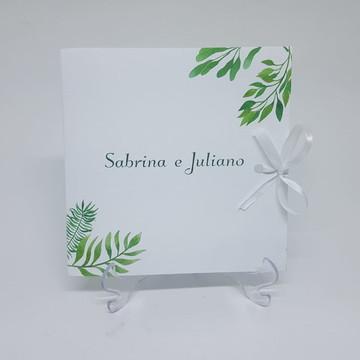 Convite de casamento folhas verdes