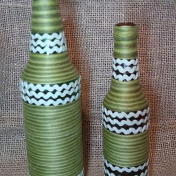 KIT 2 Garrafa Decorada com Barbante verde
