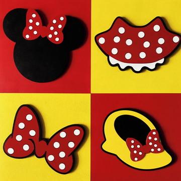 25e94c9e1 Kit 4 Quadros Decorativos da Minnie em Relevo