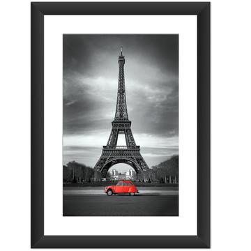 Quadro Paris Torre Eiffel Cidade Famosa Carro Vermelho 26x35