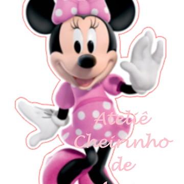 Aplique recorte scrap Minnie Rosa 8cm