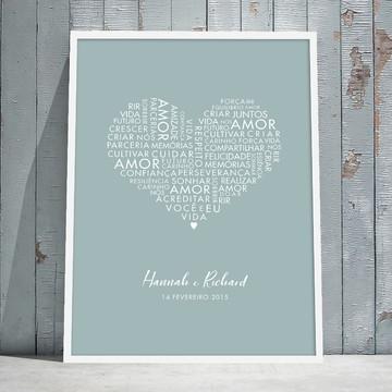 Quadro Personalizado Coração com Palavras de amor - 45x32cm