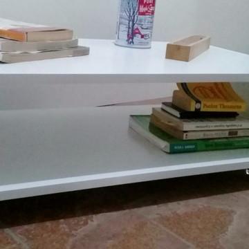 Mesa Decorativa Centro Canto Sala Mdf Branco