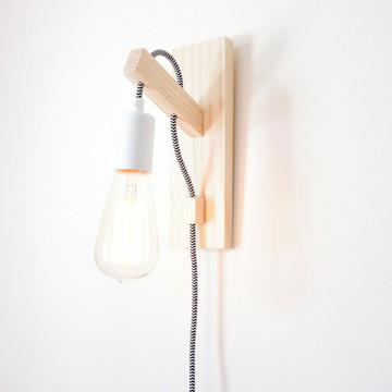 Luminária Arandela de Parede: Soquete Metálico Fiação Tecido