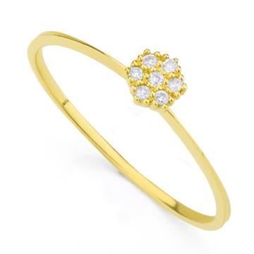 Anel de Ouro 18k Flor com Brilhante