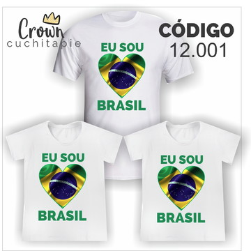 03 camisetas Copa - 2 adultas + 1 inf. - Eu amo o Brasil