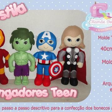 Apostila dos Vingadores - kit 4 bonecos