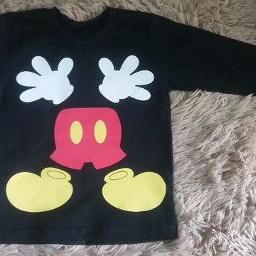 c009a9bdc Camiseta Mickey Baseball Manga Longa