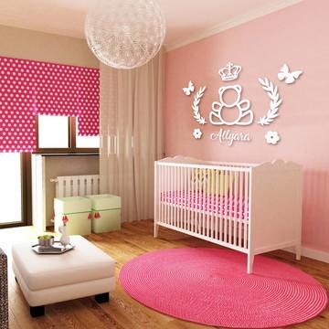 Kit Decorativo Painel de Parede Ursa Princesa