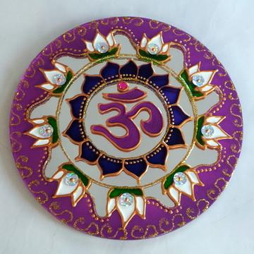 Espelho OM Flor de Lótus com lilás 15cm