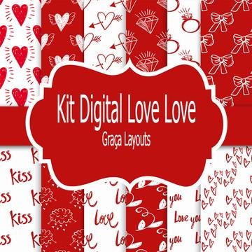 Kit digital papel dia dos namorados Love love