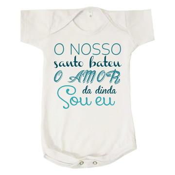 Body Bebê Nosso Santo Bateu Amor Da Dinda Sou Eu Azul