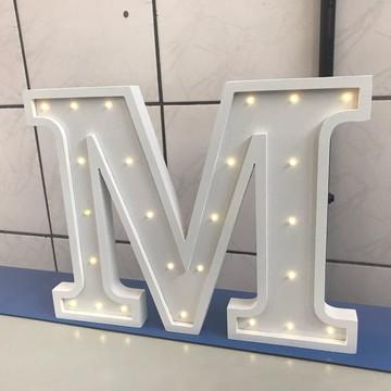 Letra Decorativa Luminária de MDF e Led a Pilha