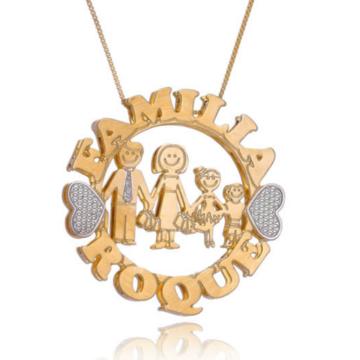 Colar Família Mandala Dupla Semijoia com nome personalizado