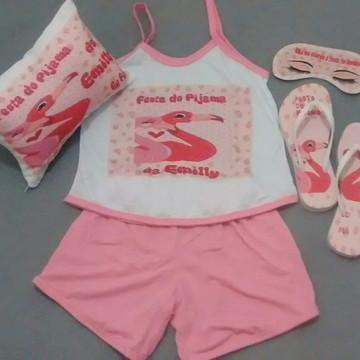 kit festa pijama flamingo (lembrancinha personalizada)
