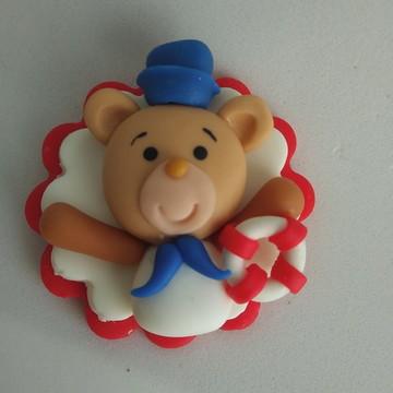 Chaveiro de biscuit Urso marinheiro