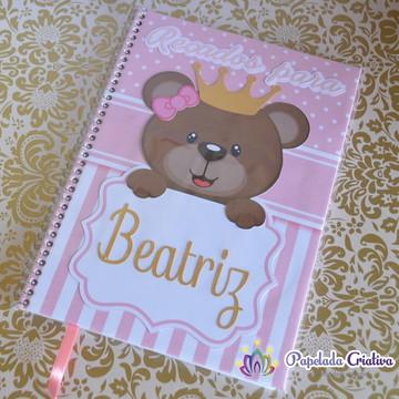 Caderninho recados para o bebe - Ursinha Princesa
