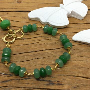 Pulseira Semijoia - Pedras Verdes