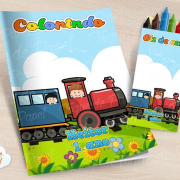 Kit colorir com giz de cera Trenzinho Trem