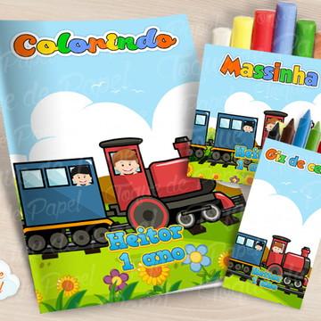 Kit colorir giz massinha Trenzinho Trem