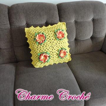 Capa de Almofada de crochê Flor 1 peça