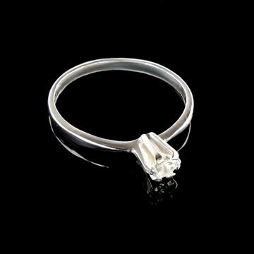 Anel Solitario de Ouro Branco 18k com Diamante