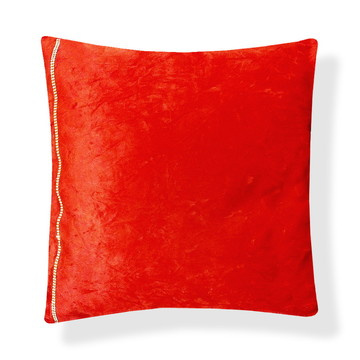 Capa Vermelha p/ Almofada 45x45 Lisa Decorada c/ Strass Gold