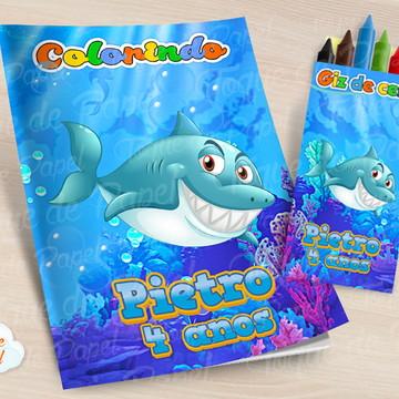 Kit colorir com giz de cera Tubarão