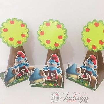 MOLDE- Caixa árvore Smurfs - Molde Silhouette