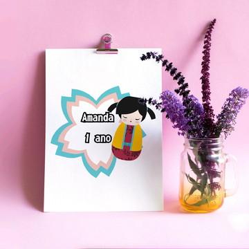Arte digital/Pôster/quadro com texto - japonesa kokeshi